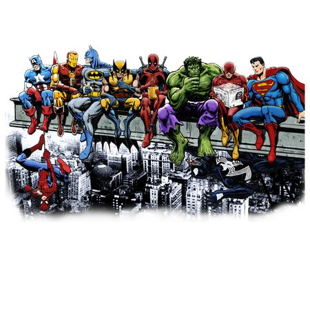 Marvel And Dc Superheroes Lunch Atop A Skyscraper Cut Out W Background Neatoshop