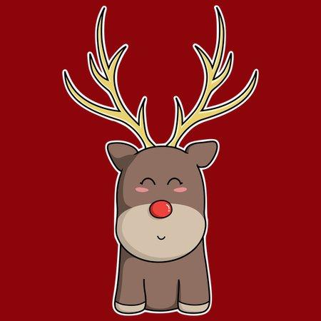 Kawaii Christmas.Cute Kawaii Christmas Reindeer