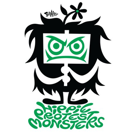 hippie protest monsters logo green neatoshop
