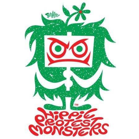christmas hippie protest monster logo green amp red