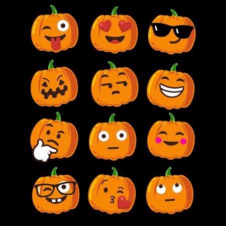 Pumpkin Emoji Faces T-Shirt Emoji Halloween Costume 2 - NeatoShop