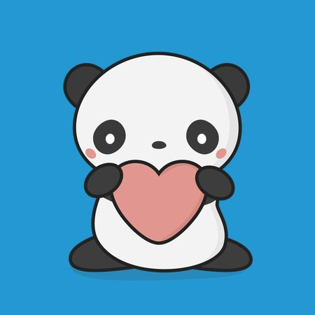 Lovely Kawaii Cute Panda With Heart