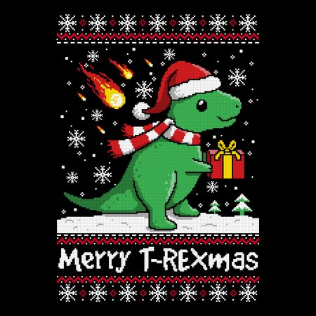 T Rex Christmas Sweater.Merry T Rex Mas Ugly Christmas Sweater