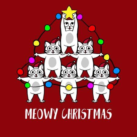 Meowy Christmas.Meowy Christmas Tree