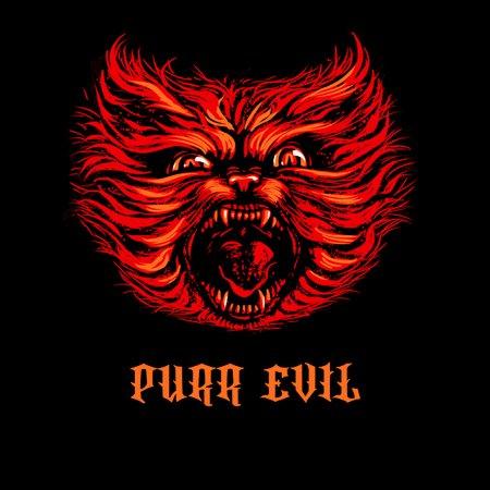 purr evil shirt cat lover hell death metal neatoshop. Black Bedroom Furniture Sets. Home Design Ideas